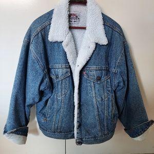 Vintage Levis Sherpa Lined Denim Jacket Size M